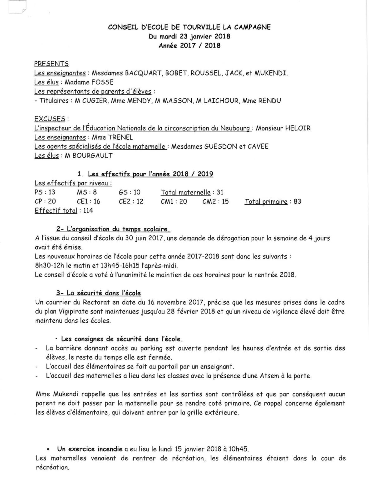 CONSEIL D ECOLE DE TOUVILLE LA CAMPAGNE 23 JANVIER-1