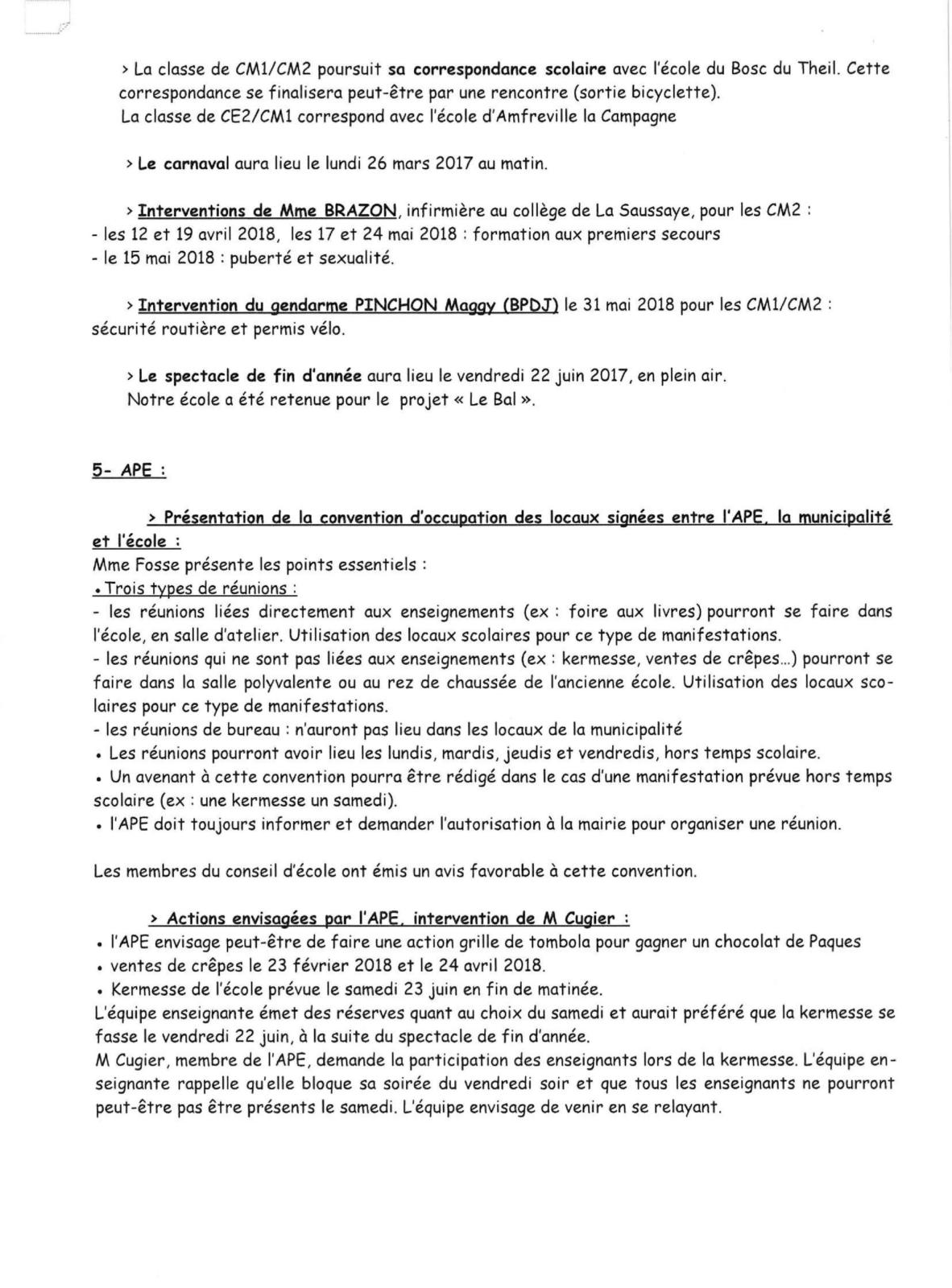 CONSEIL D ECOLE DE TOUVILLE LA CAMPAGNE 23 JANVIER-4