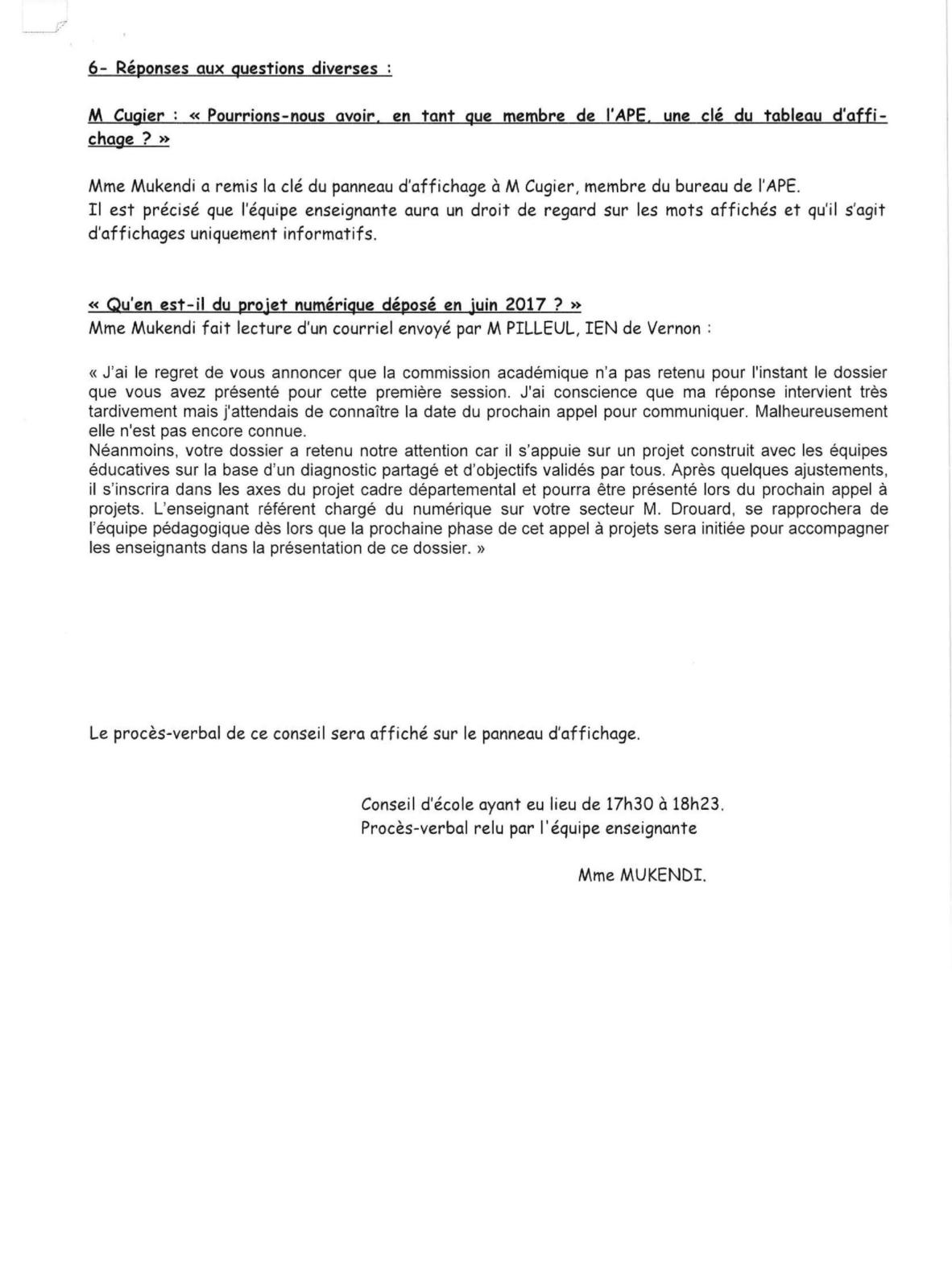 CONSEIL D ECOLE DE TOUVILLE LA CAMPAGNE 23 JANVIER-5
